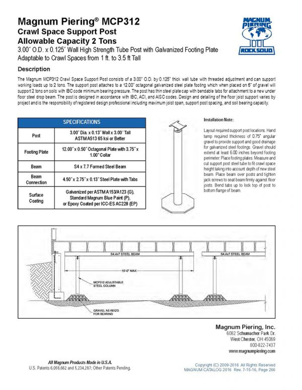 MCP312 Crawl Space Support Post
