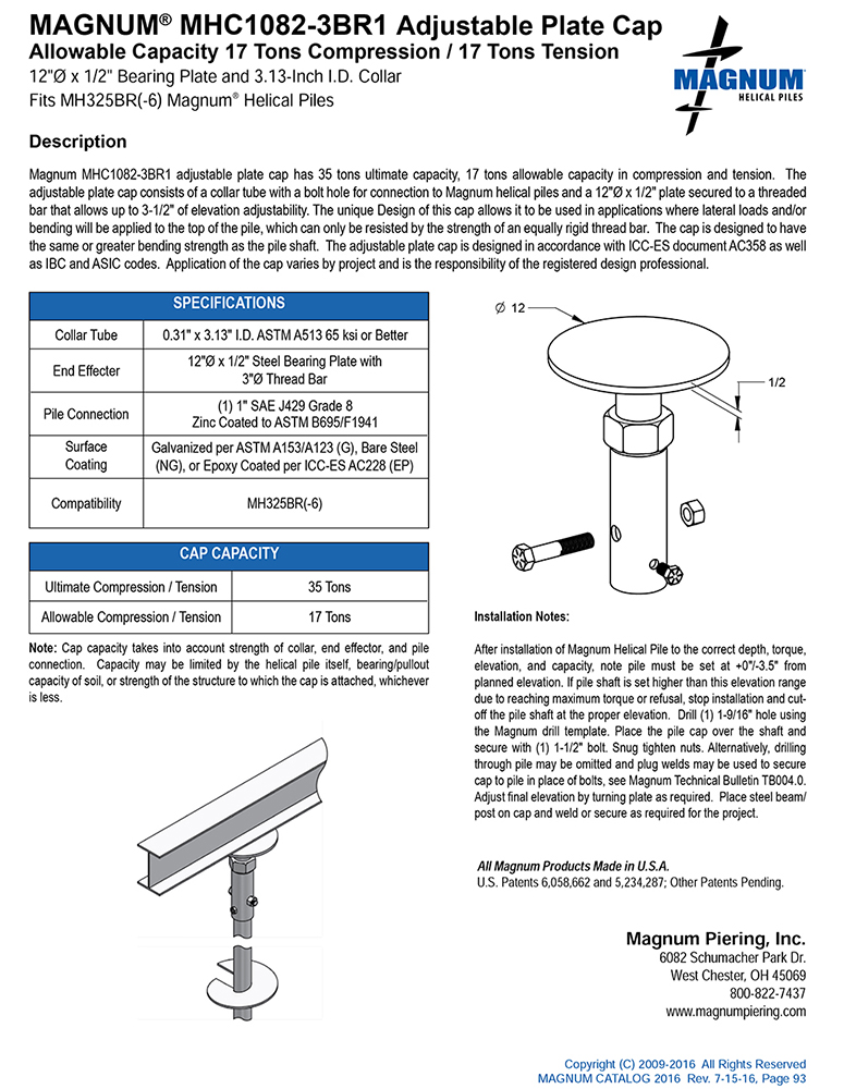 MHC1082-3BR1 Adjustable Plate Cap Specifications Sheet