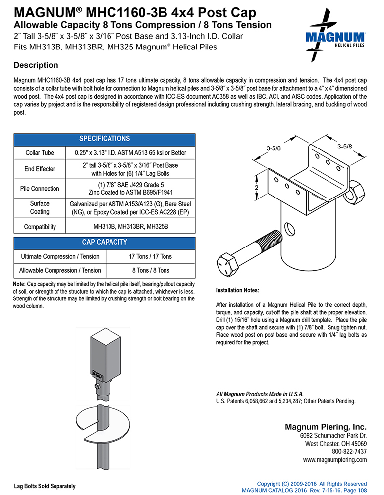 MHC1160-3B 4x4 Post Cap Specifications Sheet