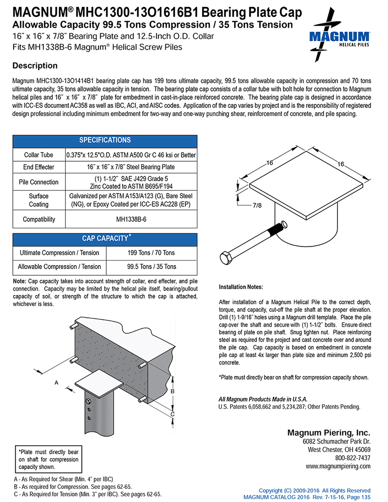 MHC1300-13O1616B1 Bearing Plate Cap Specifications Sheet