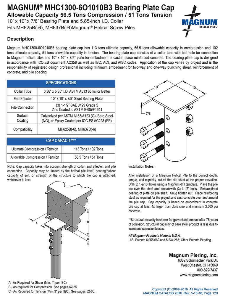 MHC1300-6O1010B3 Bearing Plate Cap Specifications Sheet