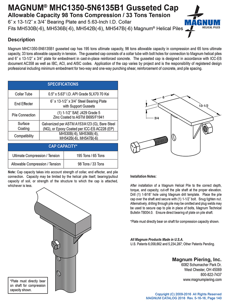 MHC1350-5N6135B1 Gusseted Cap Specifications Sheet