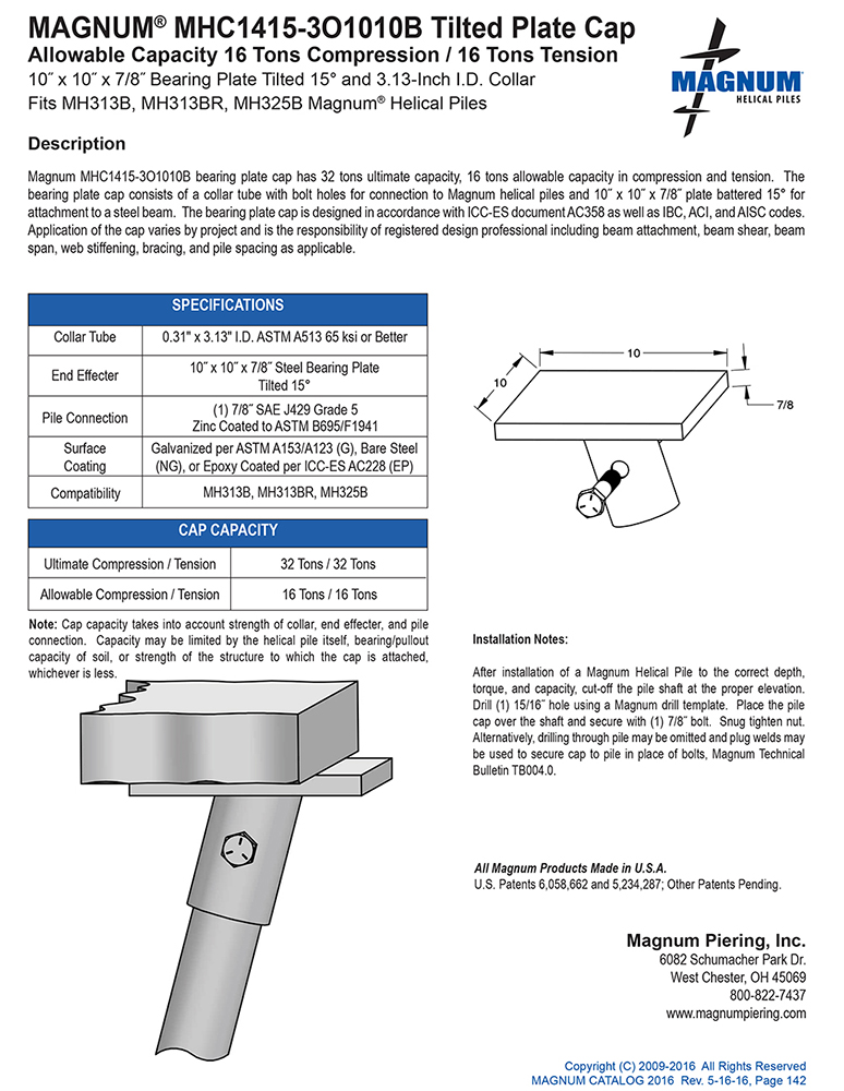 MHC1415-3O1010B Tilted Plate Cap Specifications Sheet