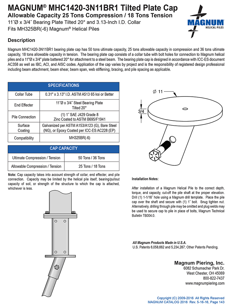 MHC1420-3N11BR1 Tilted Plate Cap Specifications Sheet