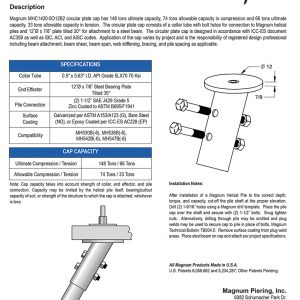 MHC1420-5O12B2 Circular Plate Cap Specifications Sheet