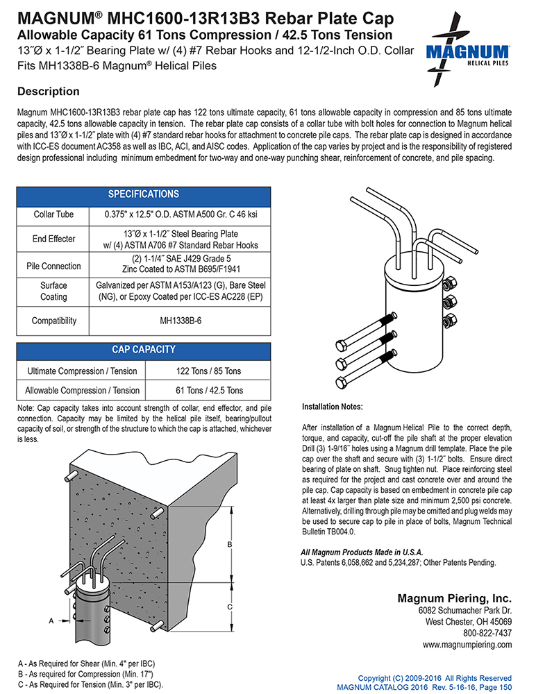 MHC1600-13R13B3 Rebar Plate Cap Specifications Sheet