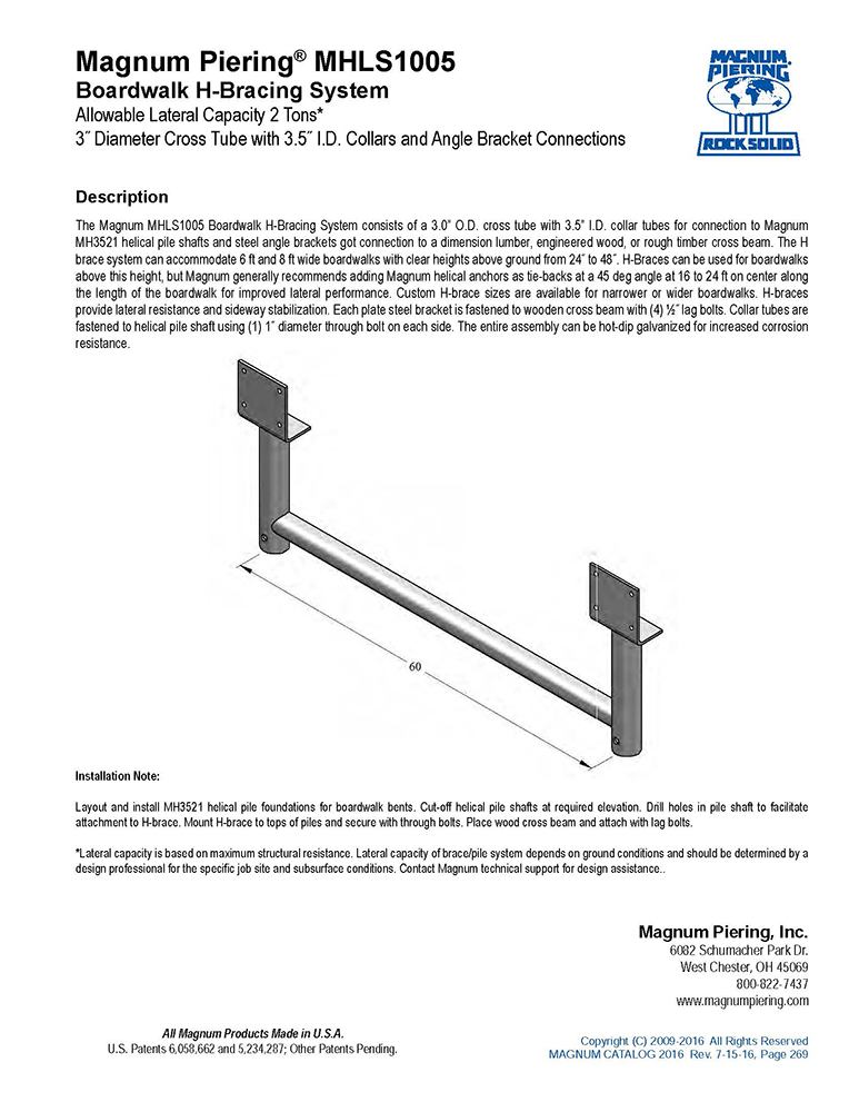 MHLS1005 Boardwalk H-Bracing System