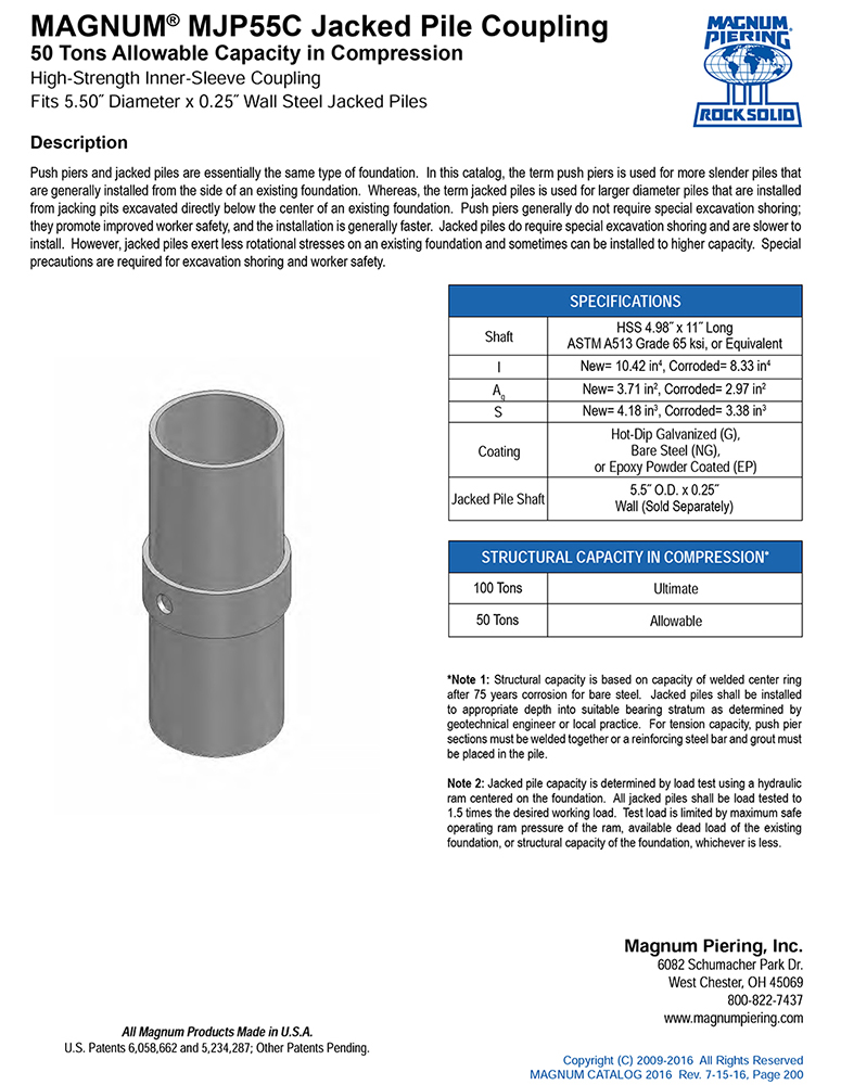MAGNUM MJP55C-Coupling Data Sheet