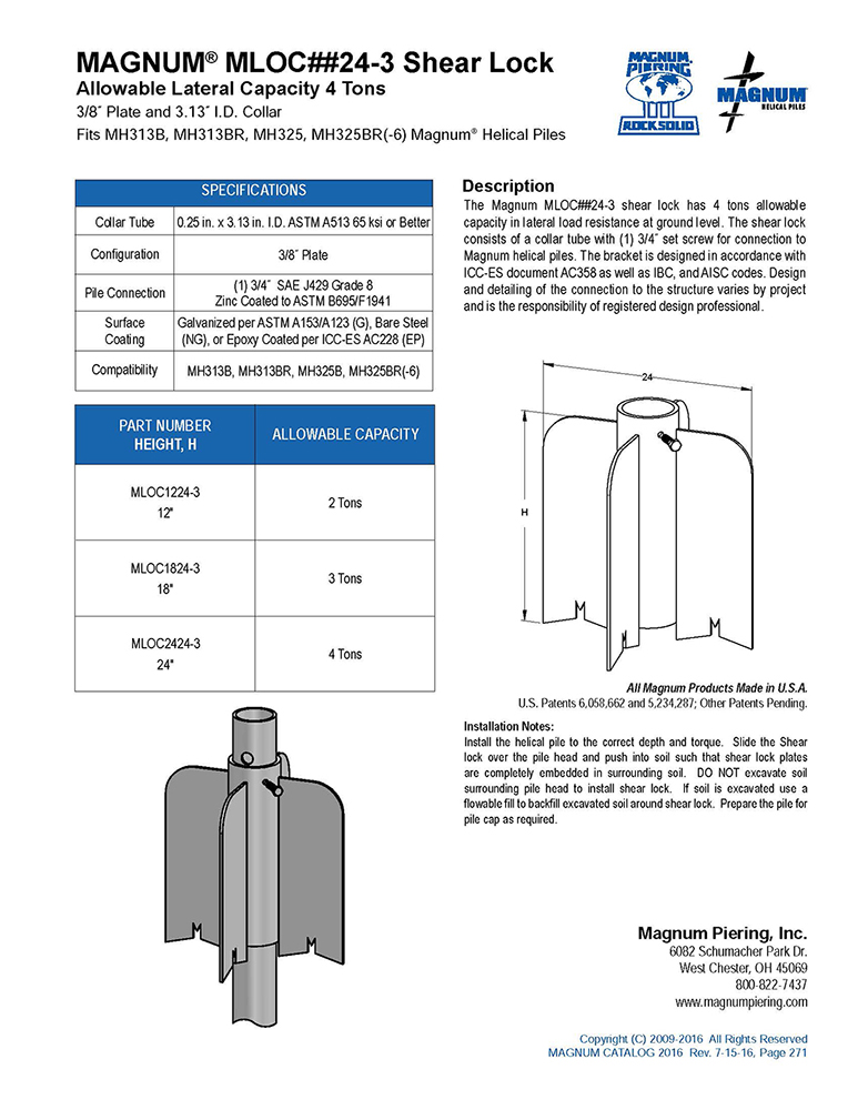 MAGNUM® MLOC##24-3 Shear Lock Data Sheet