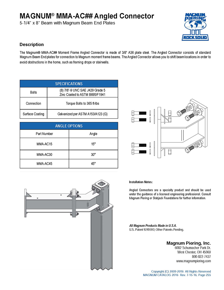 MAGNUM MMA-AC Angled Connector Data Sheet
