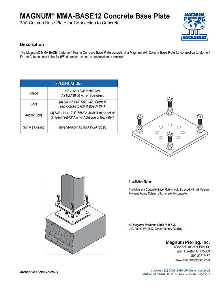 MMA-BASE12 Concrete Base Plate