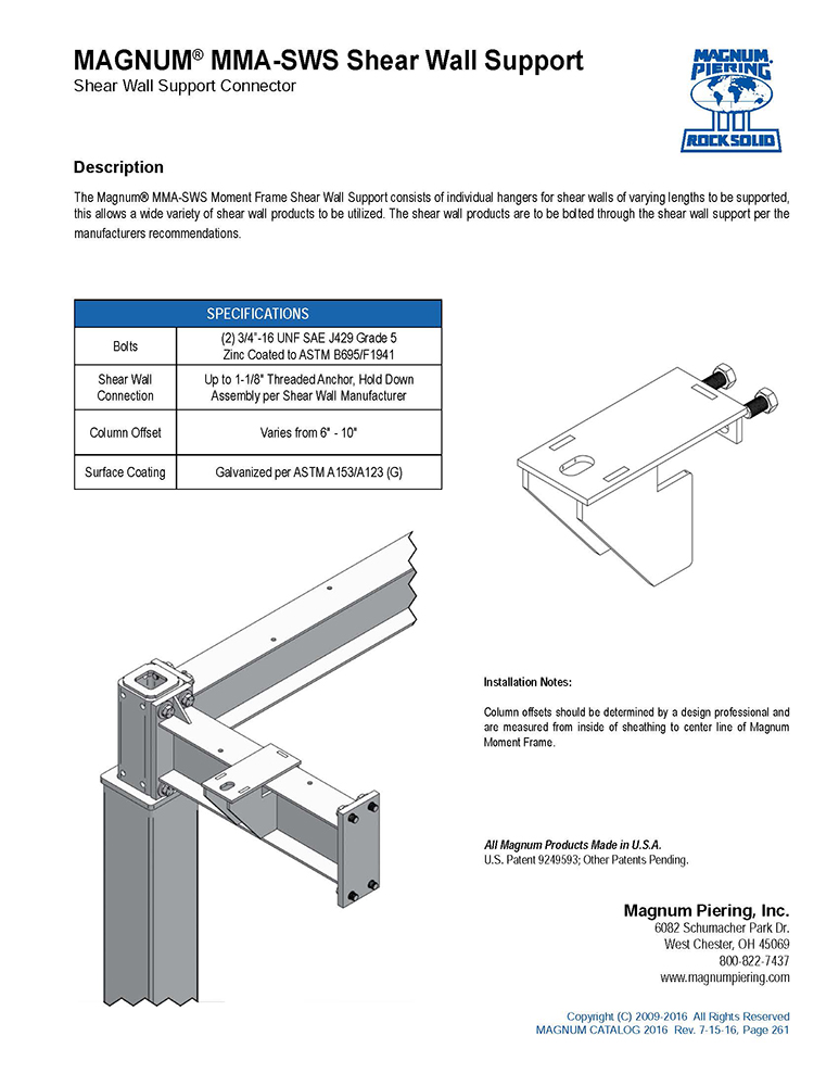 MMA-SWS Shear Wall Support