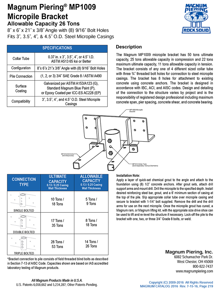 MP1009 Micropile Bracket