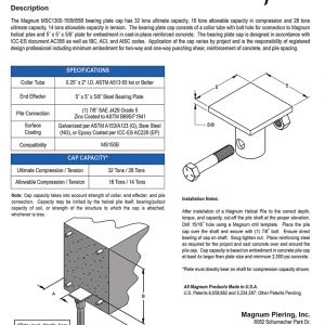 MSC1300-150M55B Bearing Plate Cap Specifications Sheet