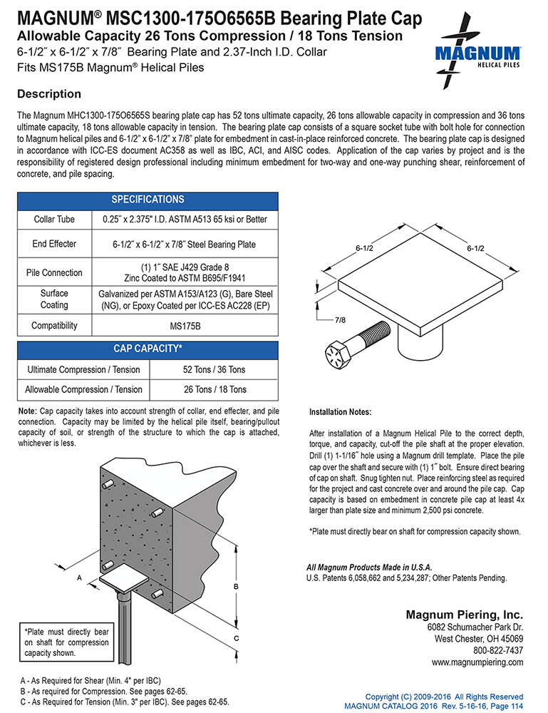 MSC1300-175O6565B Bearing Plate Cap Specifications Sheet