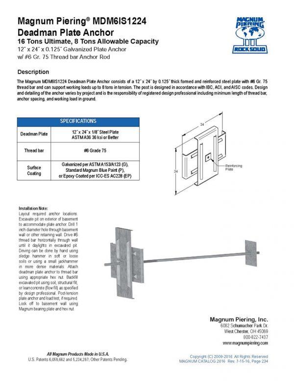 Magnum Piering MDM6IS1224 Deadman Plate Anchor Data Sheet