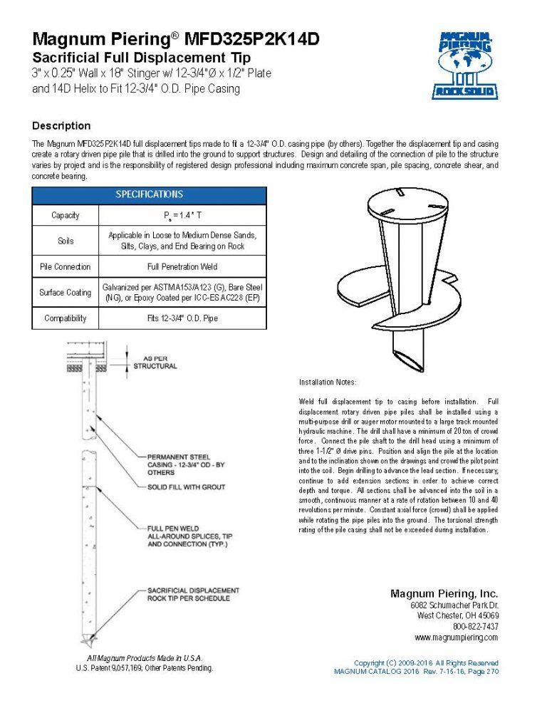 MFD325P2K14D Sacrificial Full Displacement Tip