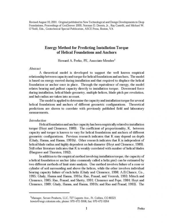 Energy Method for Predicting Installation Torque
