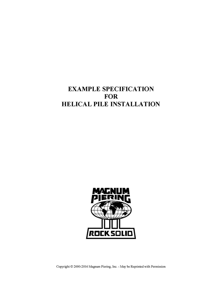 Example Specifications for Helical Pile Installation