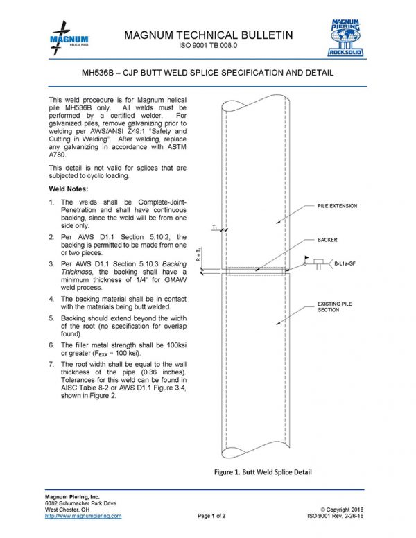 MH536B Weld and Splice Specifications