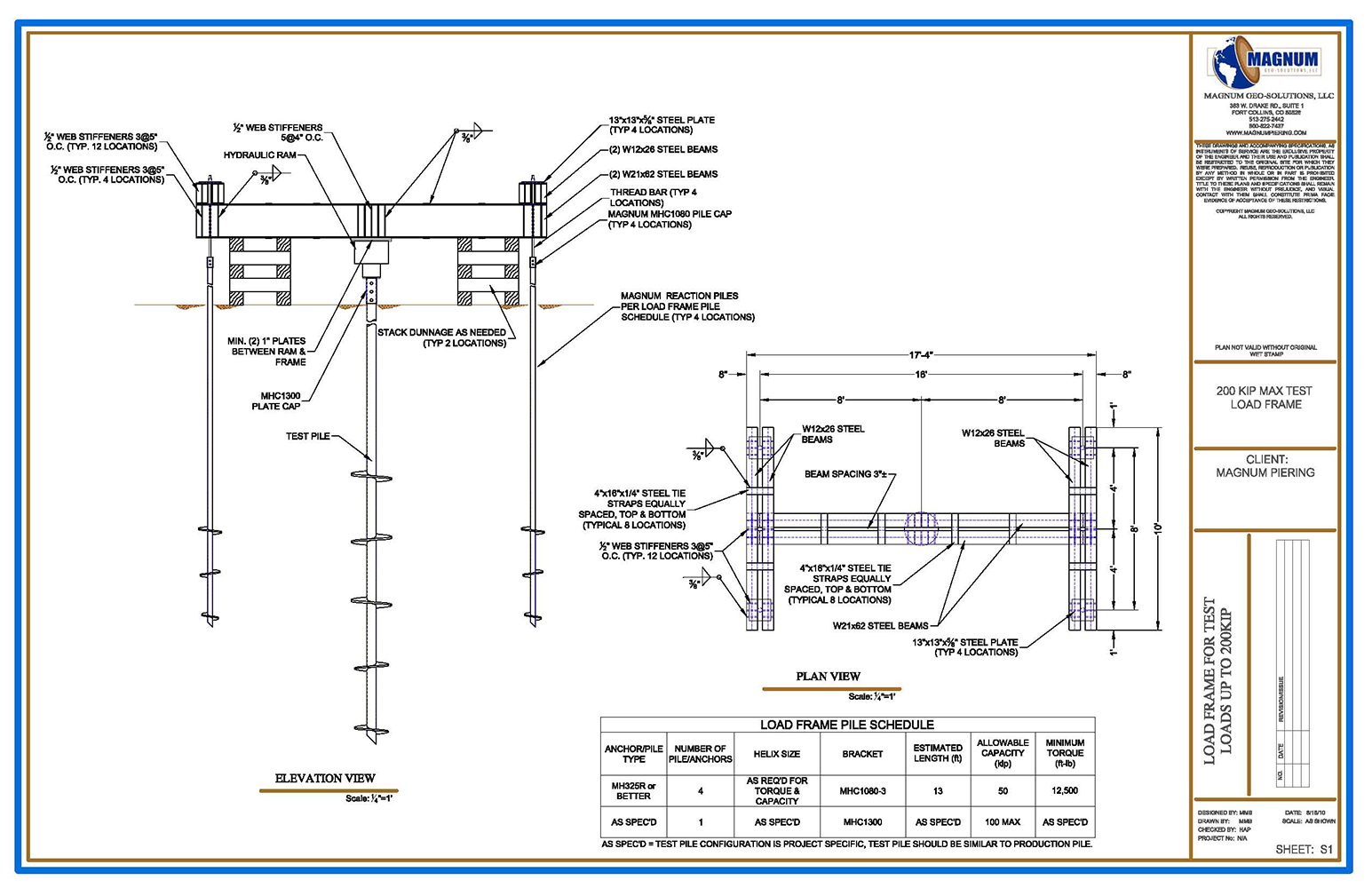 100 Ton Load Frame Magnum Pieringmagnum Piering Beam Loading Diagram Test Drawing